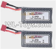 Hosim 9125 Parts Battery,Official 7.4V 1600mah battery Parts(2pcs)-DJ02,Hosim 9125 RC Car Parts