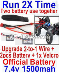 Hosim 9125 Parts Upgrade 2-to-1 wire and Velcro & 2pcs Battery-Two battery can Be used together,Run 2x Time than usual Parts-,Hosim 9125 RC Car Parts