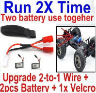GPToys 9130 Parts Upgrade 2-to-1 wire and Velcro & 2pcs 500mah Battery-Two battery can use together,Run 2x Time than usual Parts-,GPToys 9130 RC Car Parts