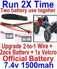 GPToys Q901 Parts Upgrade 2-to-1 wire and Velcro & 2pcs Battery-Two battery can Be used together,Run 2x Time than usual,GPToys Q901 RC Car Parts