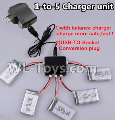 XK A100 Parts-Upgrade 1-to-5 charger and balance charger & USB-TO-socket Conversion plug(Not include the 5 battery) Parts, Wltoys XK A100-SU27 J11 RC Plane, Wltoys XK A100 RC Airplane glider Fixed wing Plane