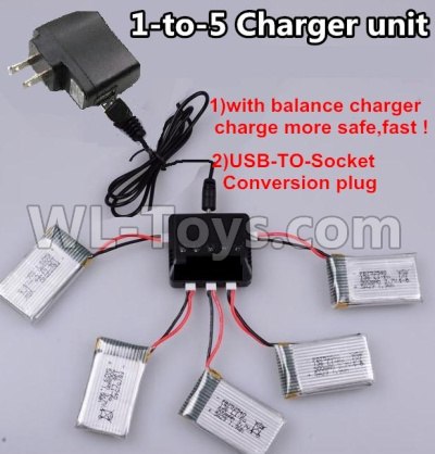 XK A130 Parts-Upgrade 1-to-5 charger and balance charger & USB-TO-socket Conversion plug(Not include the 5 battery)