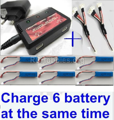 XK A160 SKYLARK Parts-Upgrade charger and balance charger & 2pcs 1-To-3 convert wire & 6pcs battery-Total can charge 6x battery and the same time