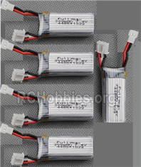 XK A180 Parts-Lipo Battery Packs, Total 5pcs. 7.4v 300mah Battery