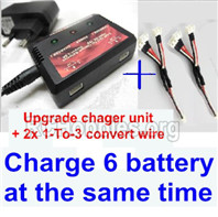 XK A180 Parts-charger and balance charger & 2pcs 1-To-3 convert wire-Total can charge 6x battery and the same time