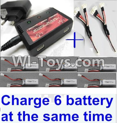 XK A430 Parts-Upgrade charger and balance charger & 2pcs 1-To-3 convert wire & 6pcs battery-Total can charge 6x battery and the same time