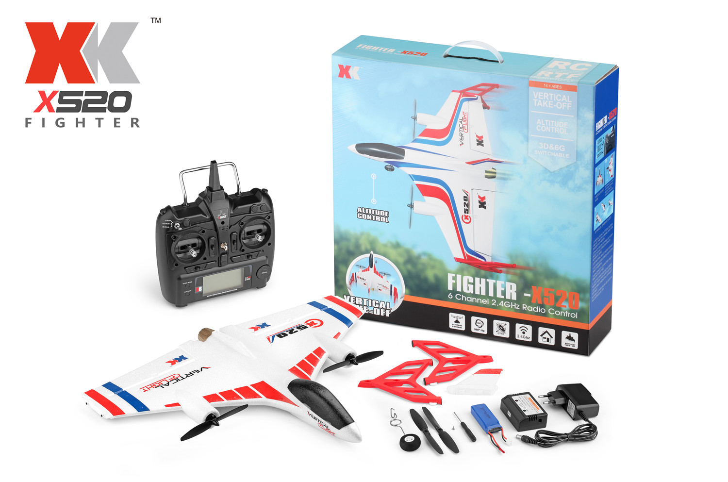 Wltoys XK X520 Vtol RC Plane and Parts