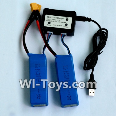 Wltoys V950 RC Helicopter Parts-2pcs 1500mah battery & Upgrade USB And Balance charger-Can charger two battery at the same time,Wltoys V950 Parts