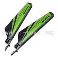 WLtoys V911 RC Helicopter Parts-Main blades,Main rotor blades,Propellers-(2pcs)-Green