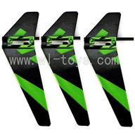 WLtoys V911 RC Helicopter Parts-Vertical wing(3pcs)-Green