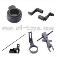 WLtoys V911 RC Helicopter Parts-Tail Boom Set with head & Main Blade Holder & (Fixing Collar & Centra axis & wheel)