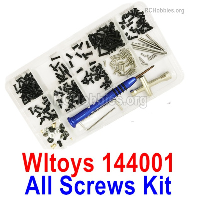 Wltoys 144001 All Screws Assembly Parts. Include All Screws, Screws driver, Pins, Nut, etc.
