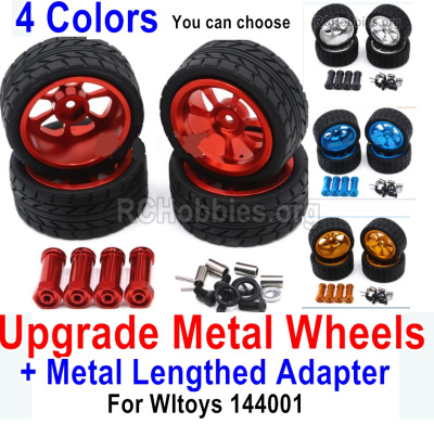 Wltoys 144001 Upgrade Metal Wheels Tires Parts + Upgrade Metal Lengthed 24mm Hex wheel seat Parts. Run More stable and more resistant to falls.