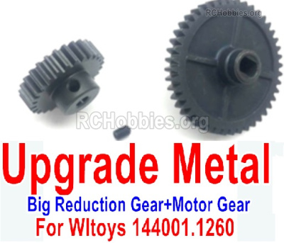 Wltoys 144001 Upgrade Metal Steel Motor Gear Parts. + Reduction gear Parts.