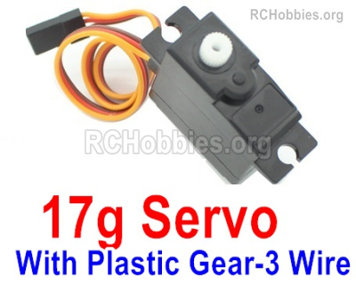 Wltoys 144001 Upgrade Servo Parts. The Torque is 17g with 3 Wire. The Gear is made of Plastic Material.
