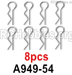 Wltoys 16800 R-Clips, Clips Pin. A949-54. Total 8pcs.