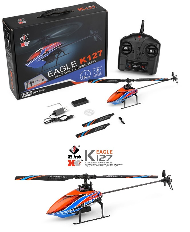 Wltoys XK K127 Eagle RC Helicopter and Parts